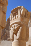 Head of Hathour. A Capital of column shaped as the head of the goddess Hathour at the temple of the queen Hatsheput .- Luxor Royalty Free Stock Photo