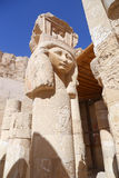 Head of Hathour. A Capital of column shaped as the head of the goddess Hathour at the temple of the queen Hatsheput .- Luxor Stock Image
