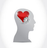 Head heart and gear illustration design Stock Photo