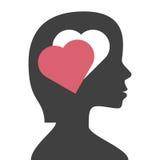 Head, heart-shaped hole royalty free illustration