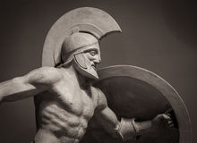 Head in helmet Greek ancient sculpture of warrior Stock Photography