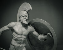 Head in helmet Greek ancient sculpture of warrior Stock Images