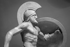 Head in helmet Greek ancient sculpture of warrior Stock Image