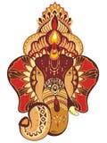 Head of Hindu god Ganesha. Vector illustration  on white. Royalty Free Stock Photo