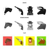 Head of a horse, a bull`s head, a revolver, a cowboy girl. Rodeo set collection icons in black, flat, monochrome style. Head of a horse, a bull`s head, a Royalty Free Stock Images