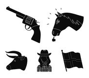 Head of a horse, a bull`s head, a revolver, a cowboy girl. Rodeo set collection icons in black style vector symbol stock. Head of a horse, a bull`s head, a Royalty Free Stock Photo