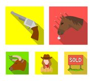 Head of a horse, a bull`s head, a revolver, a cowboy girl. Rodeo set collection icons in flat style vector symbol stock. Head of a horse, a bull`s head, a Royalty Free Stock Image