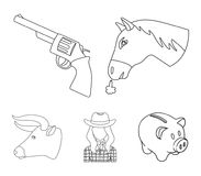 Head of a horse, a bull`s head, a revolver, a cowboy girl. Rodeo set collection icons in outline style vector symbol. Head of a horse, a bull`s head, a revolver Stock Images
