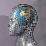 Head housing a globe. A globe within a transparent head, perhaps representing the potential of the mind, intellect or psyche. 3d abstract render stock illustration