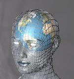 Head housing a globe. A globe within a transparent head, perhaps representing the potential of the mind, intellect or psyche. 3d abstract render Royalty Free Stock Photos