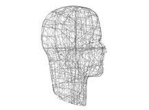 head human Den Wireframe modellen med anslutning fodrar på vit, 3d stock illustrationer