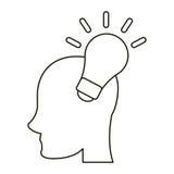Head human new idea bulb outline Stock Photo