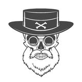 Head hunter skull with beard, hat and glasses Royalty Free Stock Photo