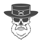 Head hunter skull with beard and hat vector. Rover Stock Images
