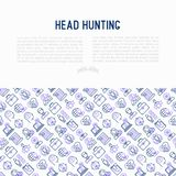 Head hunting concept with thin line icons. Employee, hr manager, focus, resume; briefcase; achievements; career growth, interview. Vector illustration for Stock Photo