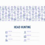 Head hunting concept with thin line icons. Employee, hr manager, focus, resume; briefcase; achievements; career growth, interview. Vector illustration for Royalty Free Stock Photo