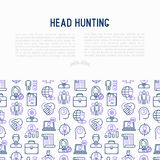 Head hunting concept with thin line icons. Employee, hr manager, focus, resume; briefcase; achievements; career growth, interview. Vector illustration for Stock Images