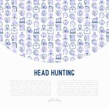 Head hunting concept with thin line icons. Employee, hr manager, focus, resume; briefcase; achievements; career growth, interview. Vector illustration for Royalty Free Stock Image