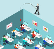 Head hunting HR fishing office business flat isometric vector 3d Royalty Free Stock Image
