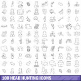100 head hunting icons set, outline style. 100 head hunting icons set in outline style for any design vector illustration Stock Image