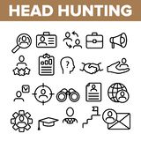 Head Hunting Service Linear Vector Icons Set royalty free illustration