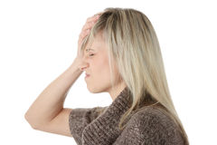 head huvudvärk för hand henne holding till kvinnan Fotografering för Bildbyråer