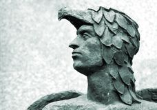 Head of Icarus antique sculpture Stock Photos