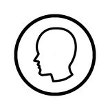 Head icon in circle - vector iconic design. Male Head icon, iconic symbol inside a circle, on transparency grid. Vector Iconic Design stock illustration