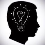Head icon with idea bulb symbol. Royalty Free Stock Photo