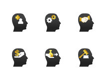Head icon set Stock Photos