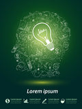 Head idea. Concept with light bulbs on green background Royalty Free Stock Photos