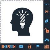 Head idea icon flat royalty free illustration