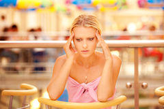 Head is ill young woman Royalty Free Stock Image