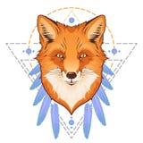 Head illustration för räv Vektor Illustrationer