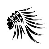Head of indian chief, black silhouette for your Royalty Free Stock Photo