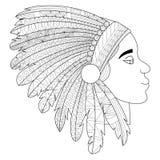 Head of an Indian in headdress war bonnet vector Royalty Free Stock Photography