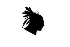 Head of indian man isolate. Black silhouette head of indian man isolate stock illustration