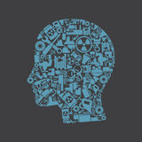 Head the industry. Head made of the industry. A vector illustration Stock Photo