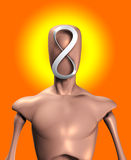 The Head Of Infinity. Blank faced figure with the an infinite Mobius strip Royalty Free Stock Photo