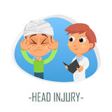 Head injury medical concept. Vector illustration. Doctor and patient are talking in the hospital. Isolated on white background Stock Images
