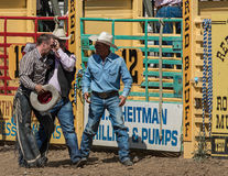Head Injury at the Rodeo. Rodeo officials attend to a bull rider with a head injury a the rodeo in Red Bluff, California. April 25, 2015 royalty free stock images
