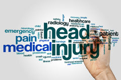 Head injury word cloud. Concept on grey background royalty free stock images