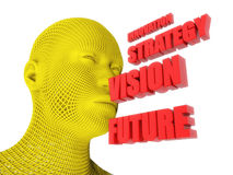 Head and innovation, strategy, vision and future text. 3d render. Head and innovation, strategy, vision and future text Royalty Free Stock Photography