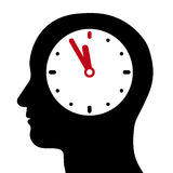 Head with an internal clock at five-to-twelve. Vector silhouette of a human head with an internal clock with the hands in red set at five-to-twelve, conceptual vector illustration