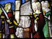 Head of John the Baptist stained glass panel Stock Images