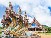 Head of king naga thai dragon statues at Wat Pa Huay Lad public temple landmark of Phu Ruea, Loei, Thailand stock photos