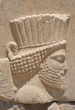 Head of king in Persepolis. Daetail of reliefs in Persepolis depicting a head of king Royalty Free Stock Photos