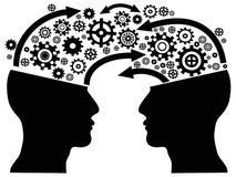 Head kommunikation med kugghjul Arkivbild