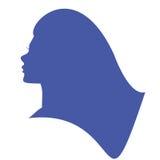 Head kontur för kvinna Härlig flickasymbol Arkivfoto