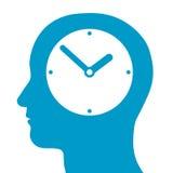 Head kontur med en klocka inom royaltyfri illustrationer